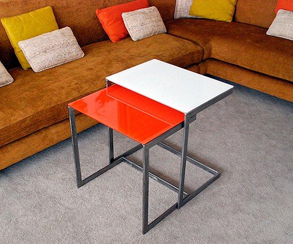 Diseño de mesa hierro y cristal